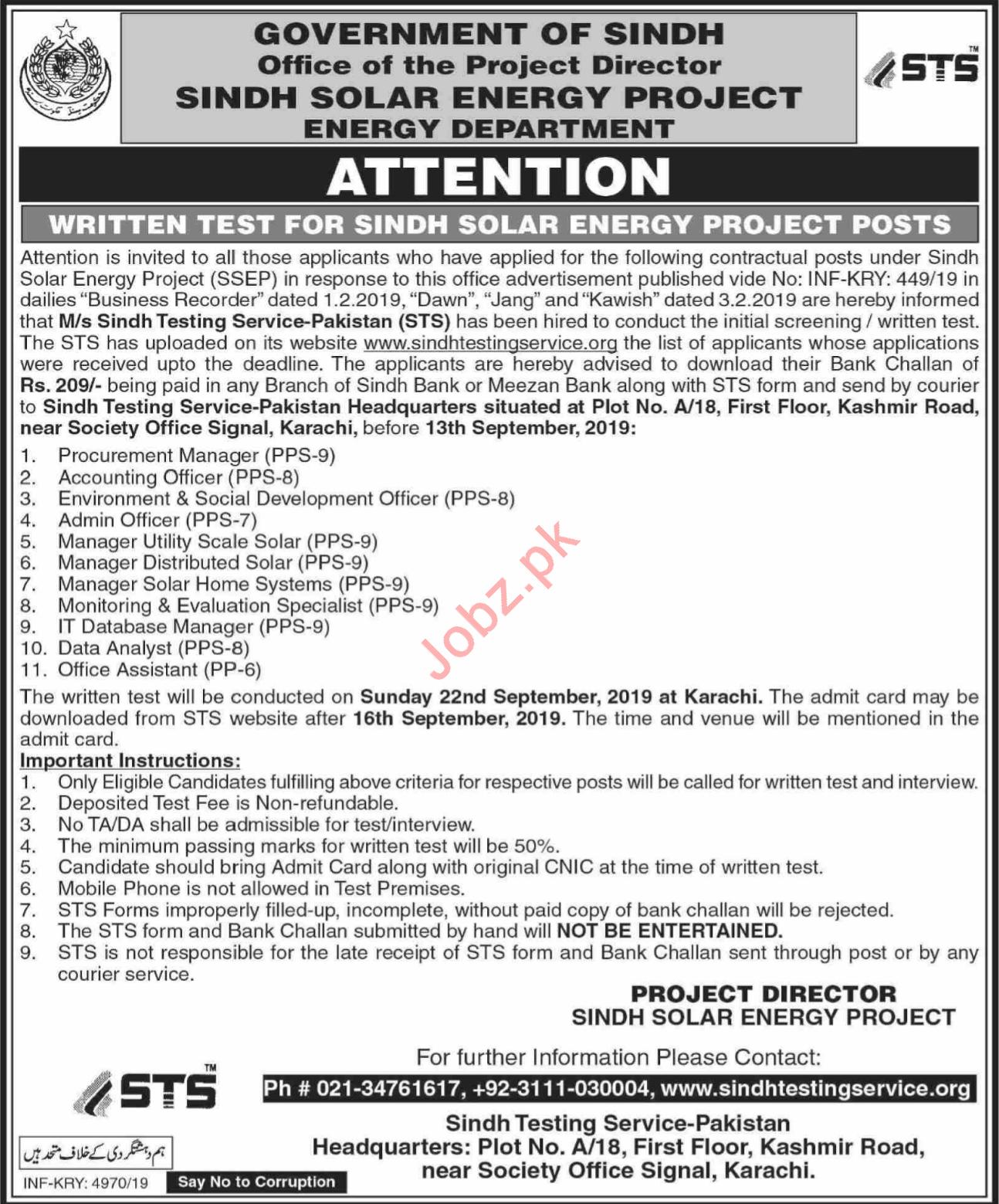 Sindh Solar Energy Department Walk In Tests via STS 2019 Job
