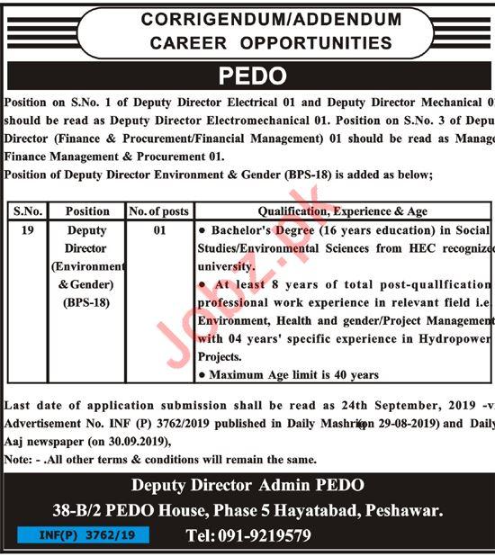 Pakhtunkhwa Energy Development Organization PEDO Job 2019