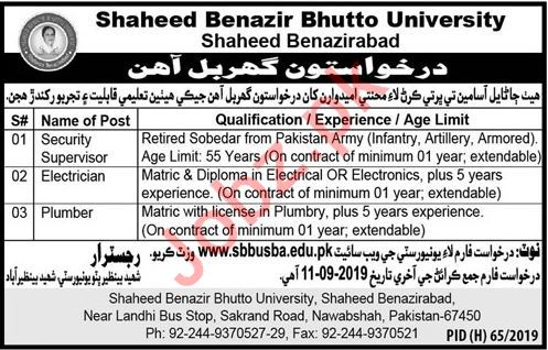 Shaheed Benazir Bhutto University SBBU Jobs in Nawabshah