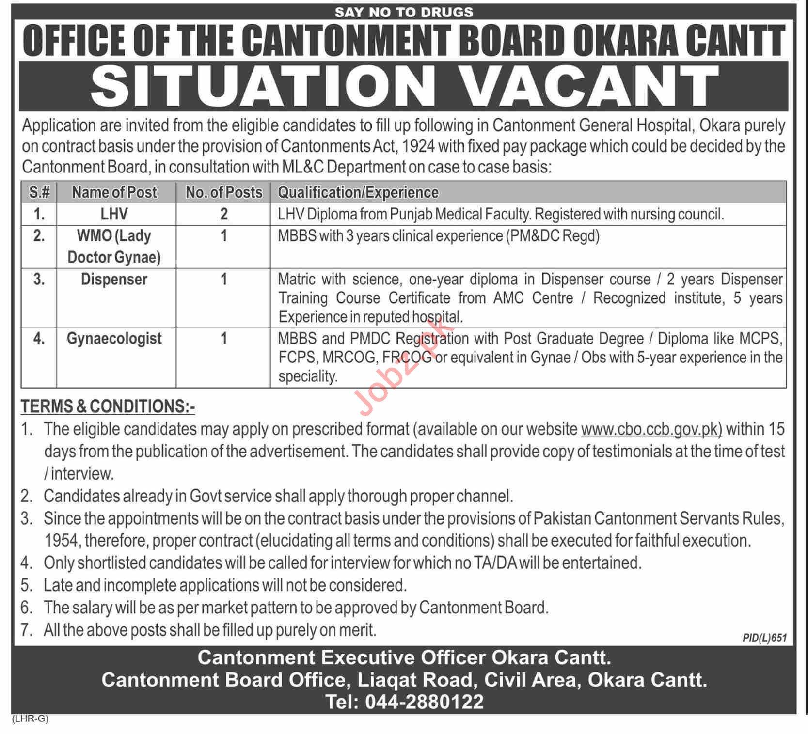 Cantonment Board General Hospital Okara Cantt Jobs 2019 Job