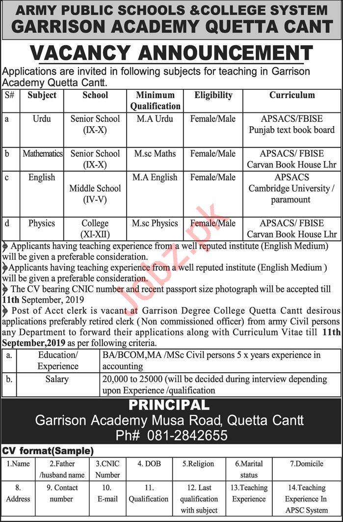 APSACS Army Public School & College Quetta Cantt Jobs 2019