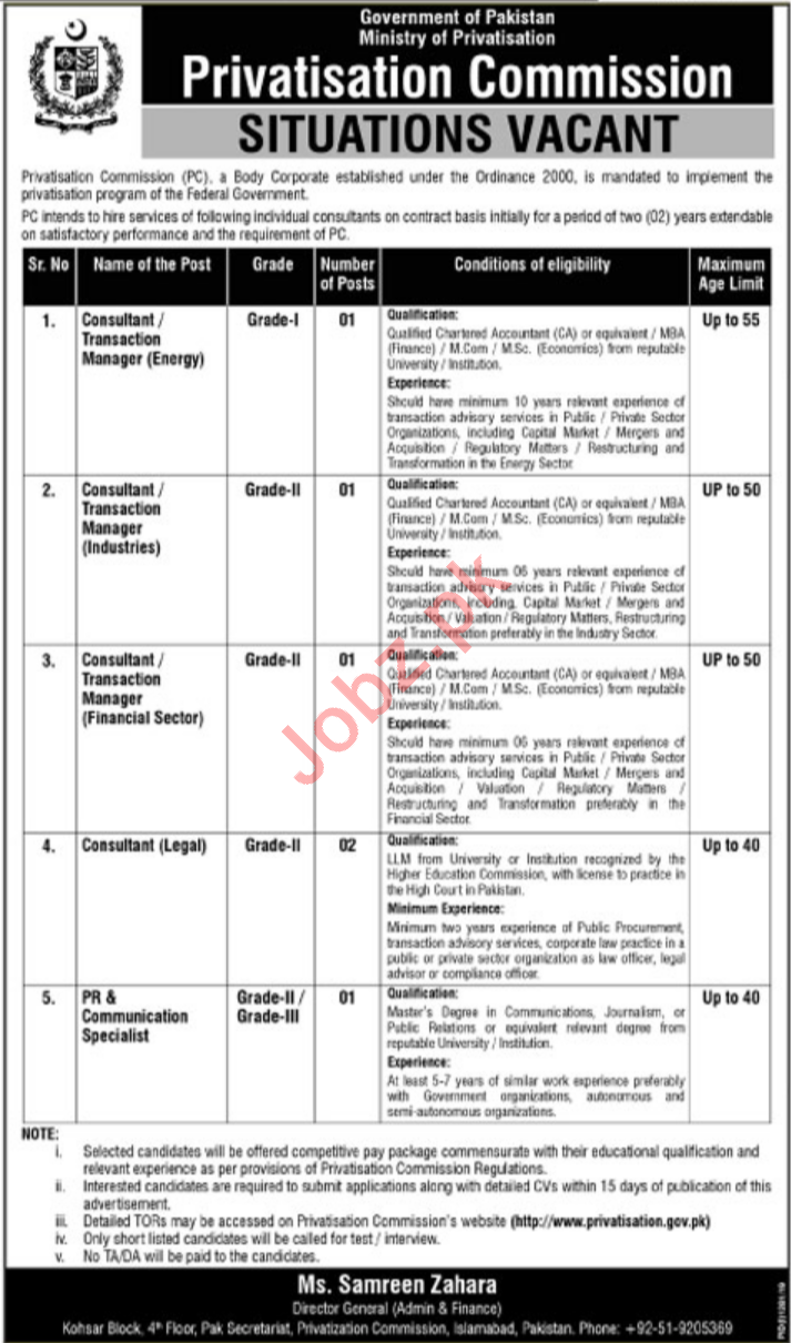 Ministry of Privatisation Islamabad Consultants Jobs 2019