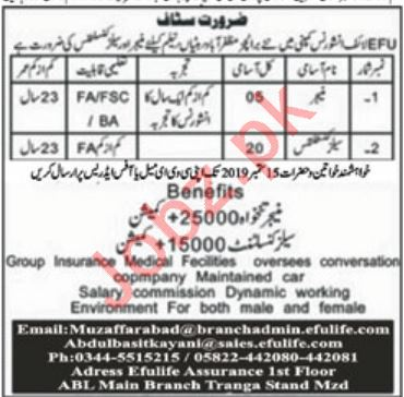 EFU Life Assurance Ltd Jobs For Managers & Sales Consultants