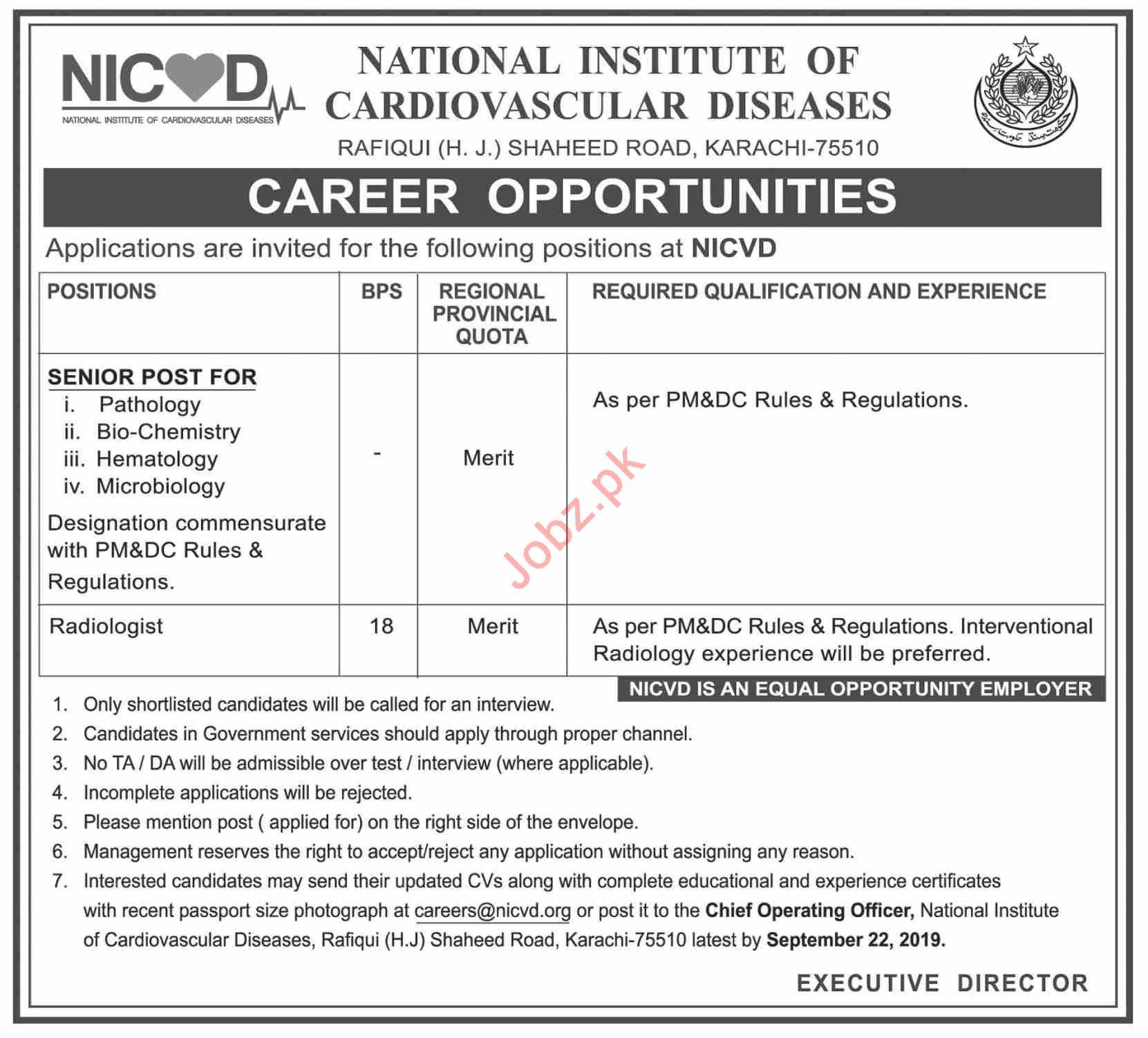 National Institute of Cardiovascular Diseases Jobs 2019 Job
