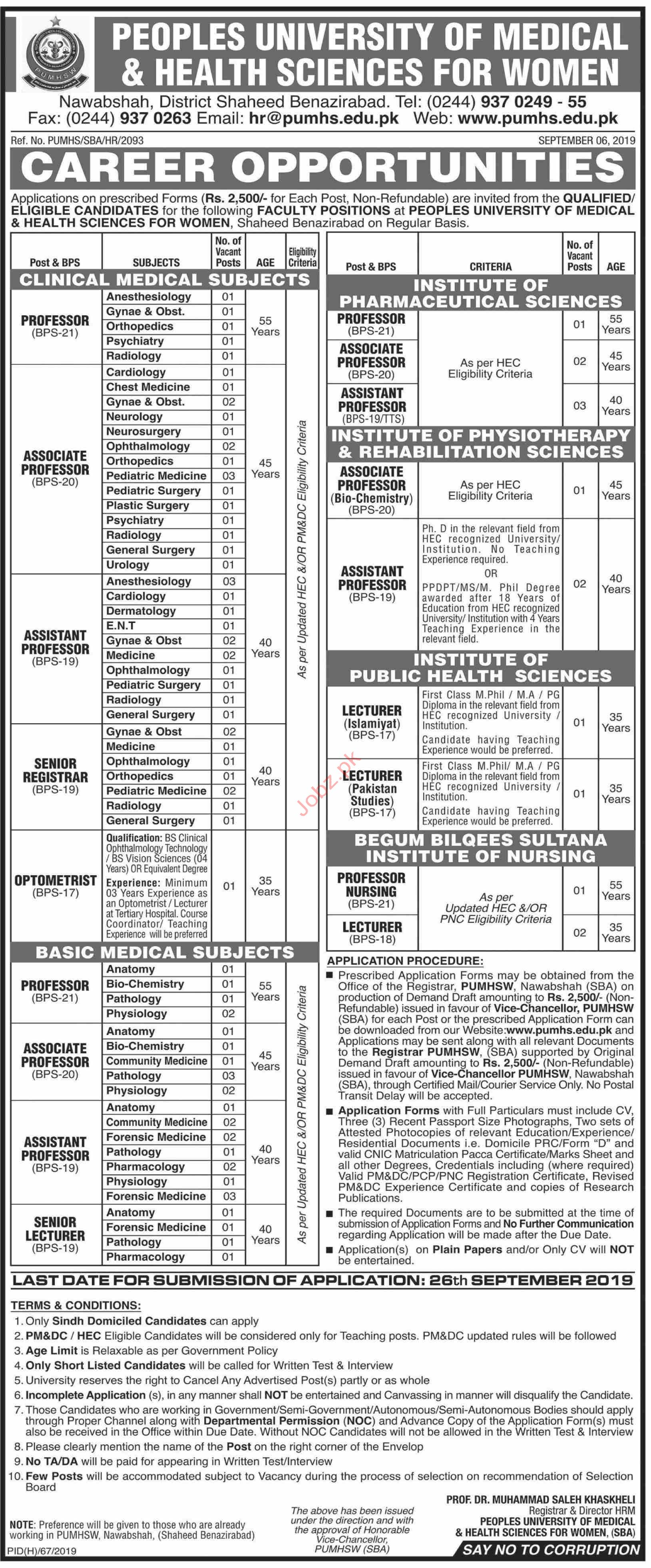 Peoples University of Medical and Health Sciences Jobs 2019