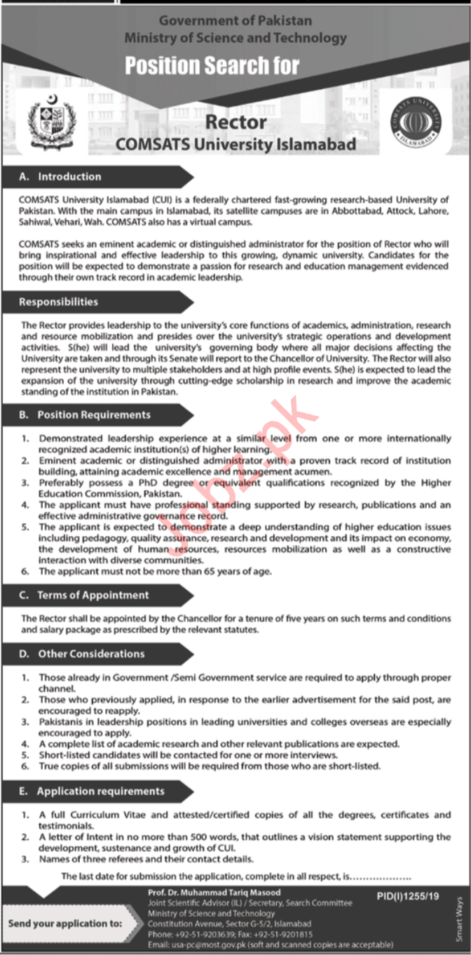Ministry Of Science & Technology Islamabad Jobs 2019 Job