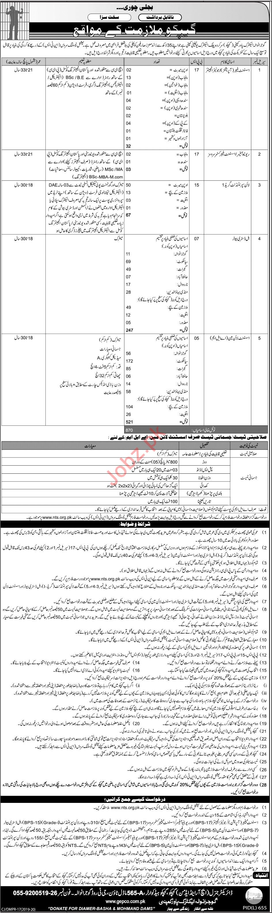 Gujranwala Electric Power Company GEPCO Jobs via NTS