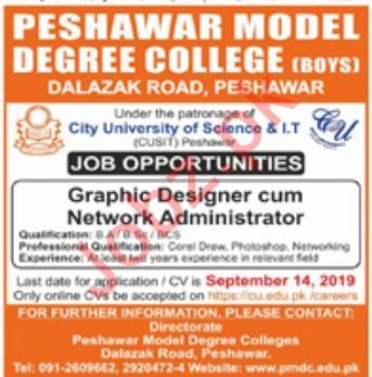 Peshawar Model Degree College For Boys Jobs 2019 Job
