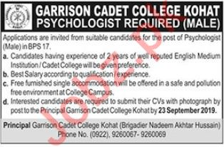Garrison Cadet College Job For Psychologist in Kohat KPK