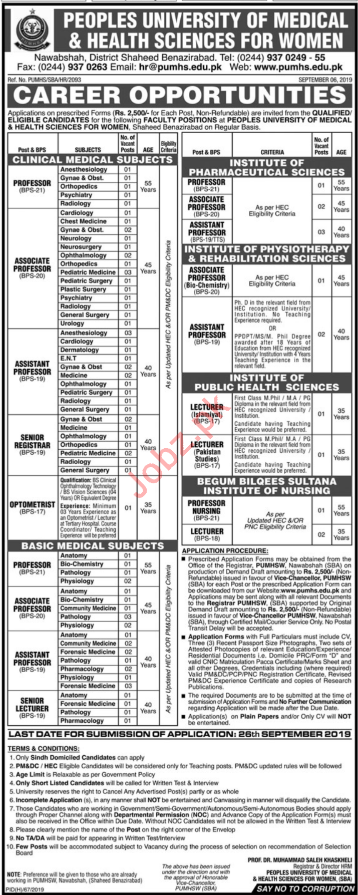 Peoples University of Medical and Health Sciences PUMHS Jobs