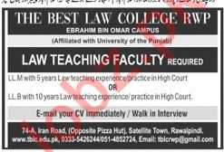 The Best Law College Rawalpindi Jobs 2019 for Lecturers