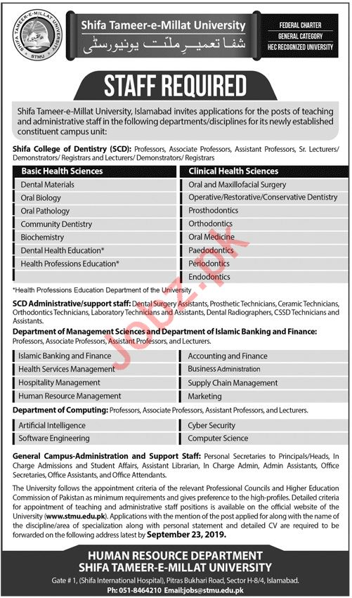 Shifa College of Dentistry SCD Islamabad Jobs for Professors