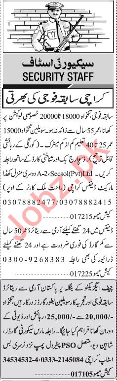 Jang Sunday Classified Ads 8th Sep 2019 for Security Staff