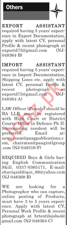 The News Sunday Classified Ads 8th Sep 2019 for Multiple