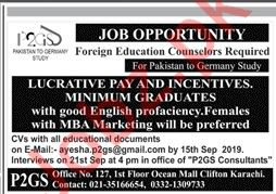 Foreign Education Counselors Jobs 2019 in Karachi