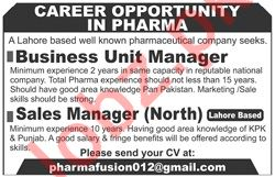 Business Unit Manager & Sales Manager Jobs in Lahore