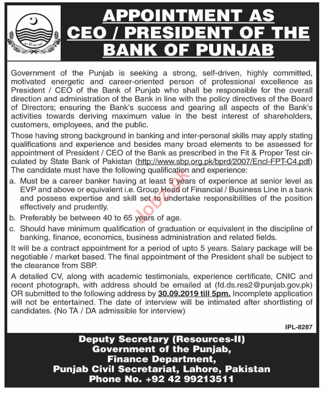 The Bank of Punjab BOP Lahore Jobs 2019 for CEO