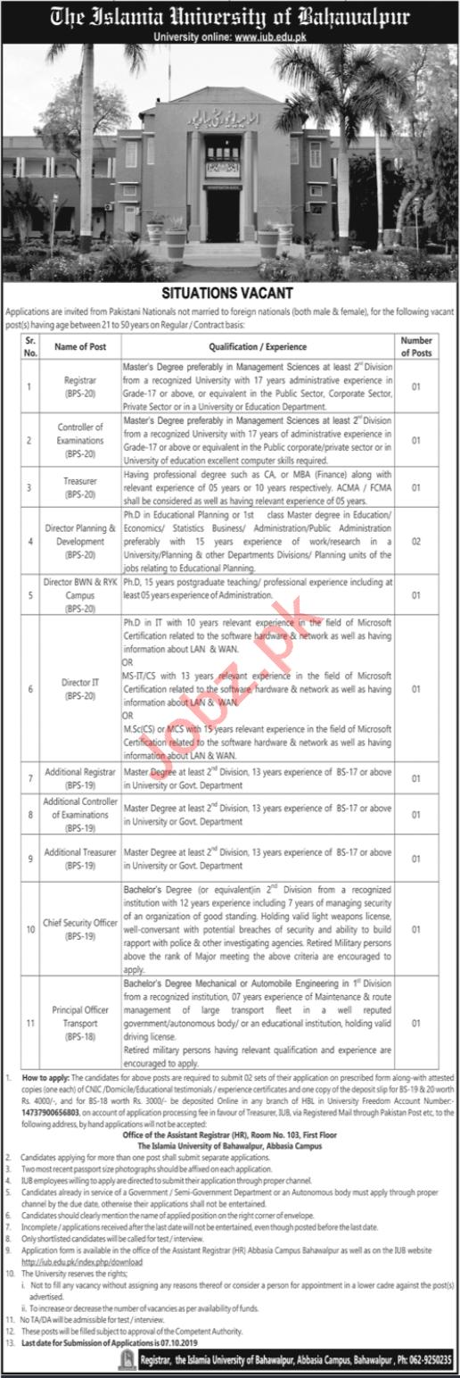 The Islamia University of Bahawalpur IUB Non Teaching Jobs
