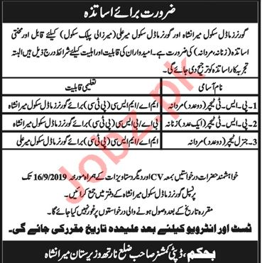 Governor Model School Miranshah Jobs 2019 for Teachers