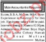 Male Accountant Jobs 2019 in Multan
