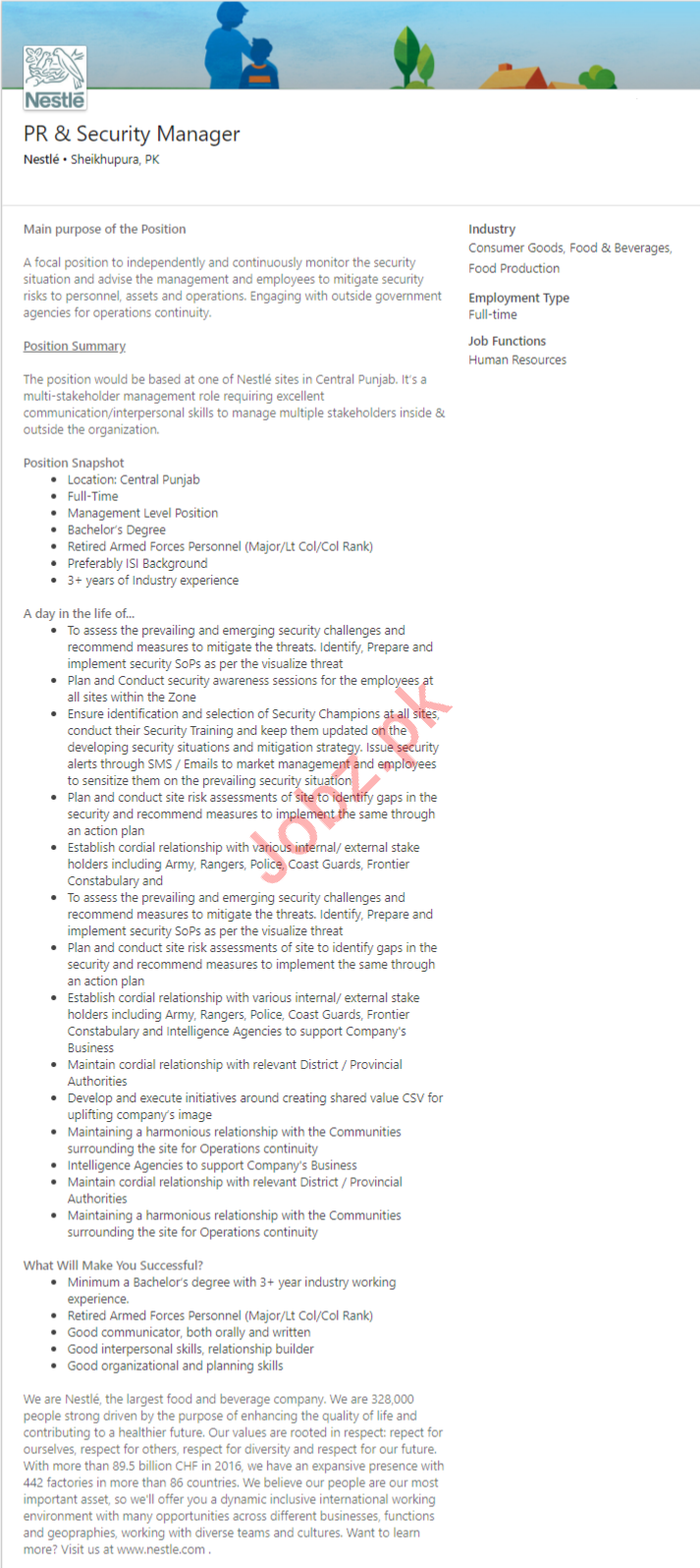 Nestle Company Job For PR & Security Manager