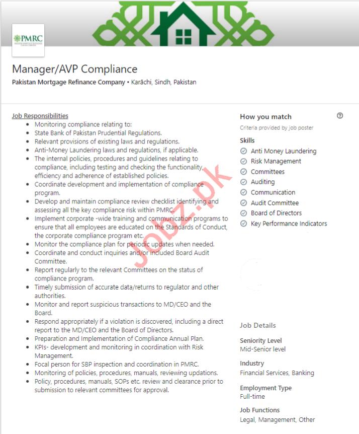 Pakistan Mortgage Refinance Company Job in Karachi 2019 Job
