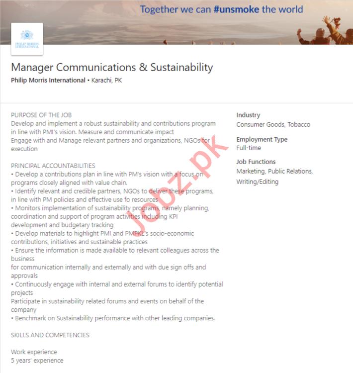 Manager Communications & Sustainability Job in Karachi