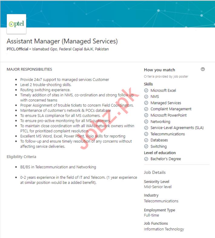 Pakistan Telecommunication Company Limited PTCL Jobs 2019