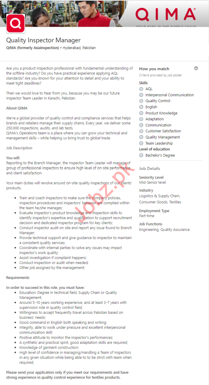 Quality Inspector Manager Job in Hyderabad