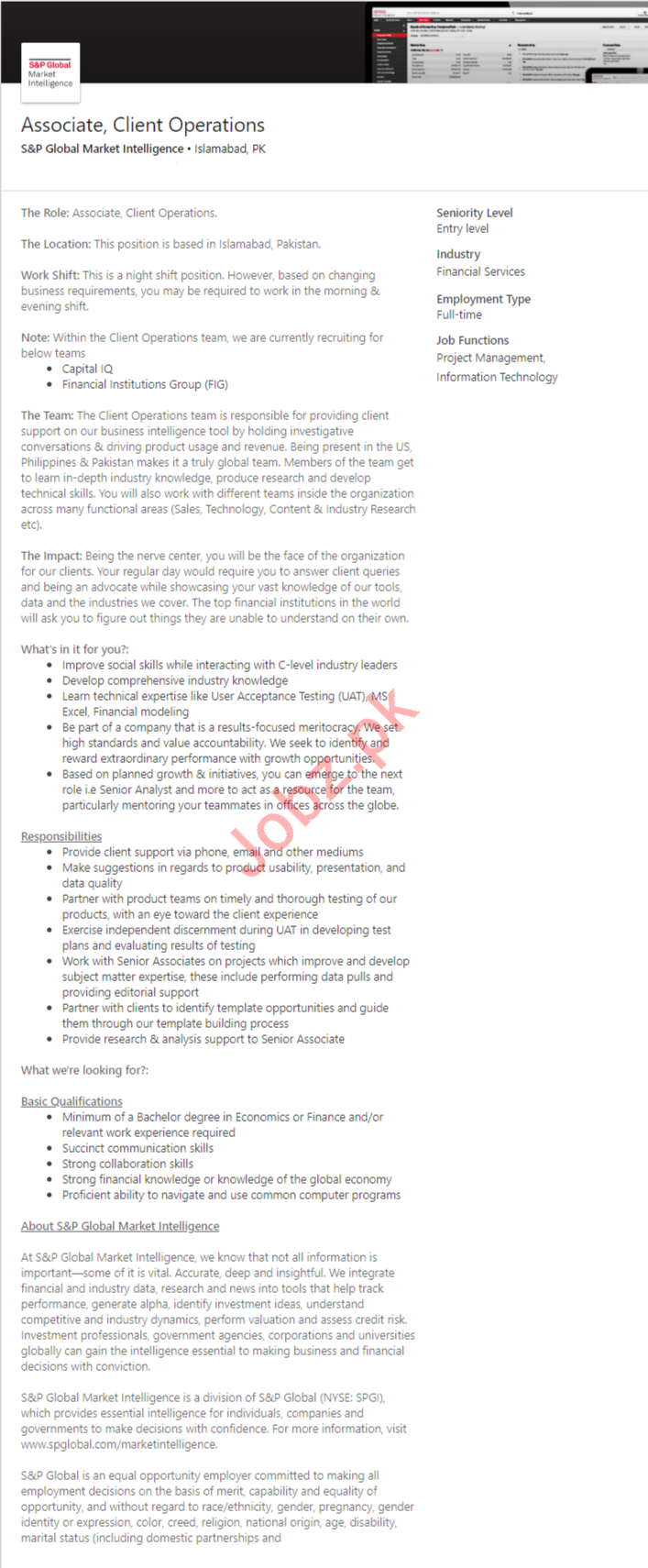 Client Operations Associate Job 2019 in Islamabad