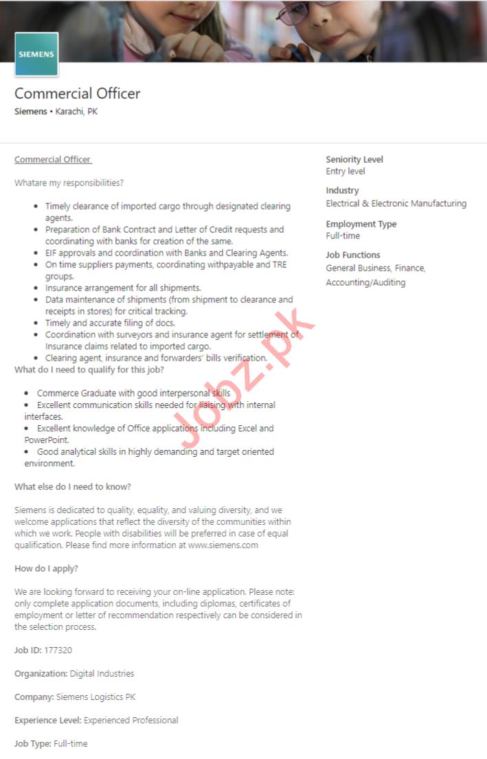 Commercial Officer Job 2019 in Karachi