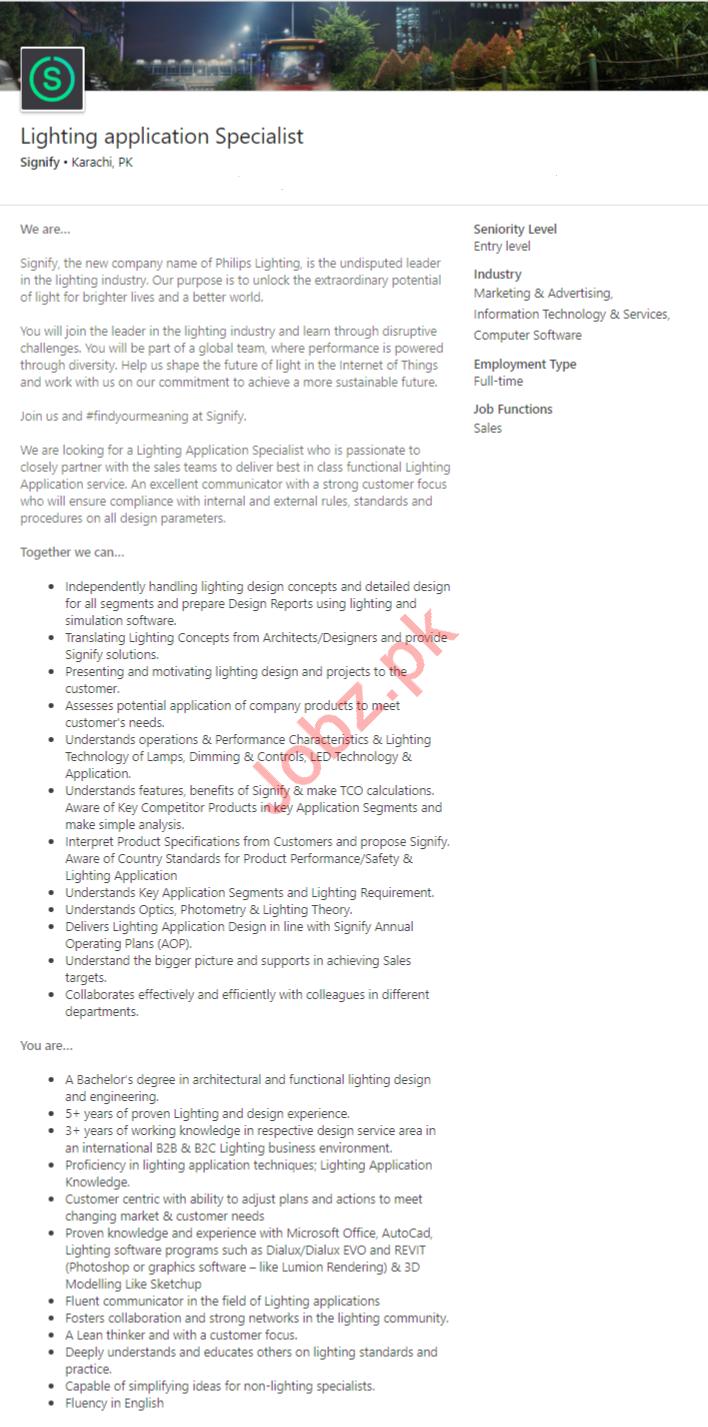 Lighting Application Specialist Job 2019 in Karachi