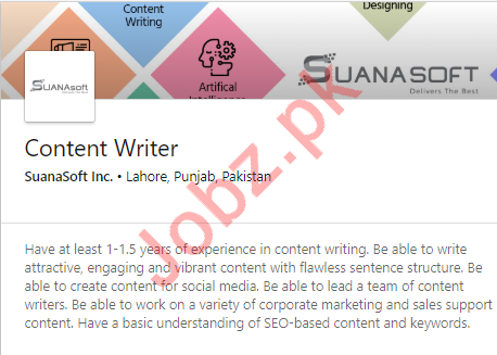 Content Writer Job 2019 in Lahore