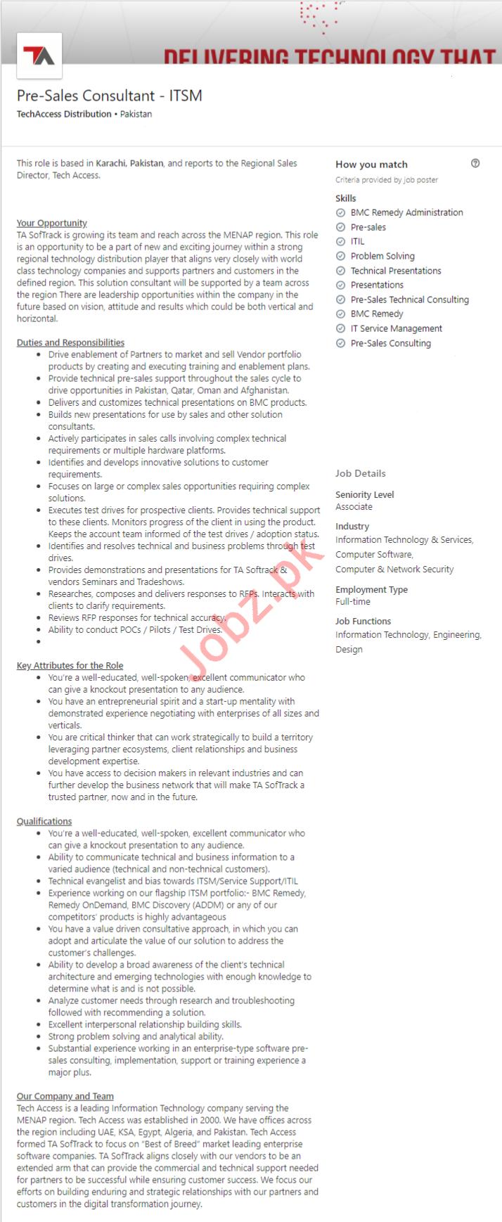 Pre-Sales Consultant Job 2019 in Karachi