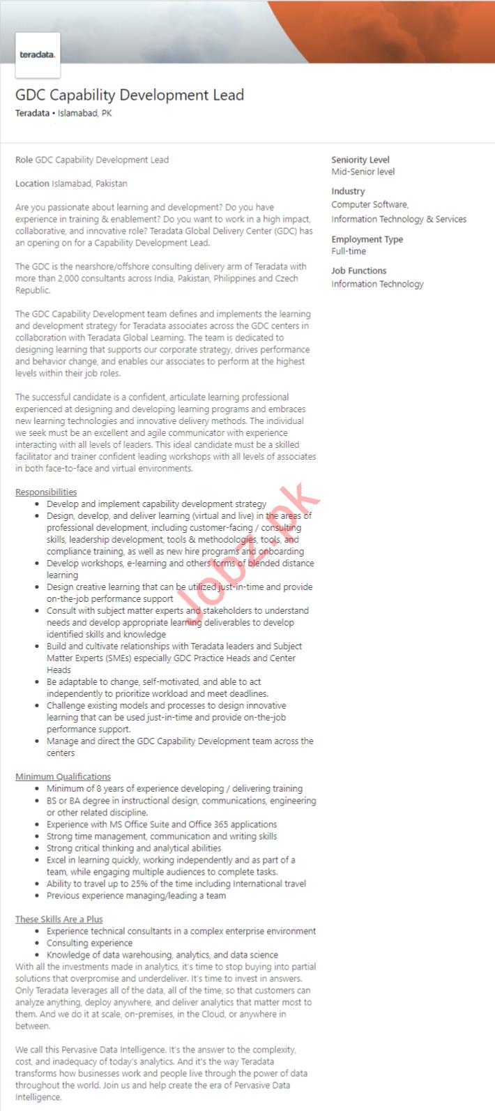GDC Capability Development Lead Job in Islamabad