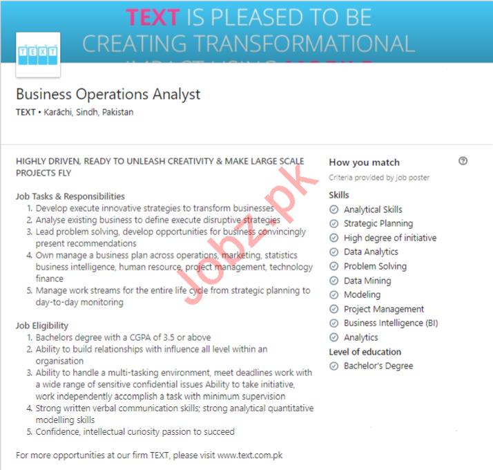 Business Operations Analyst Job 2019 in Karachi