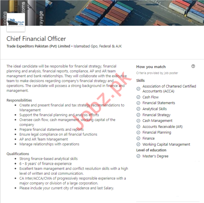 Chief Financial Officer CFO Job 2019 in Islamabad 2019 Job