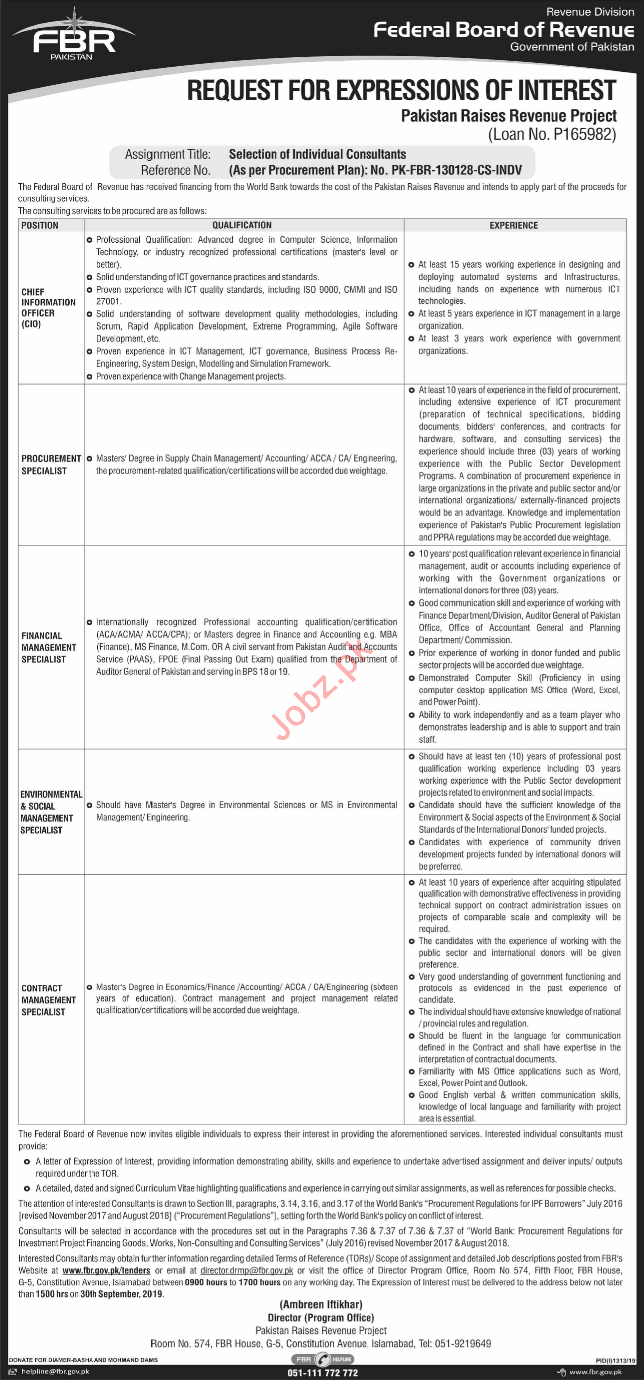 Federal Board of Revenue FBR Jobs 2019 in Islamabad