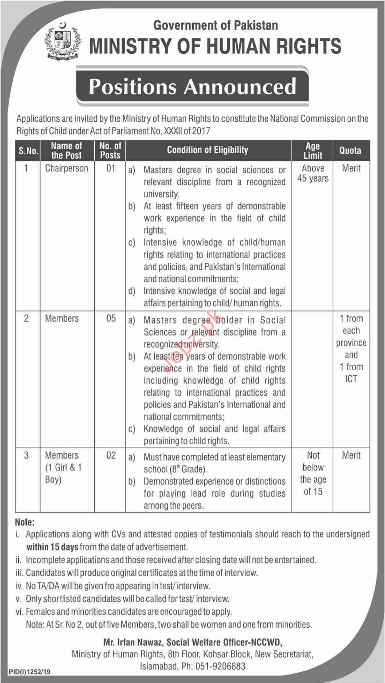 Ministry of Human Rights Jobs For Chairperson & Members