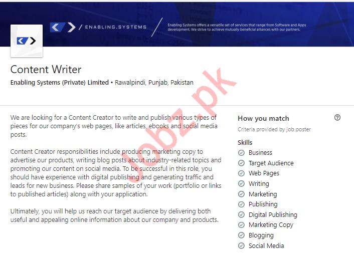 Content Writer Job in Rawalpindi 2019 Job Advertisement Pakistan