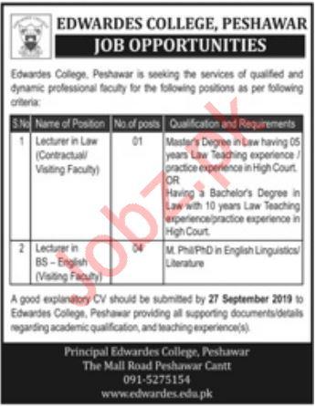 Edwardes College Jobs in Peshawar Cantt