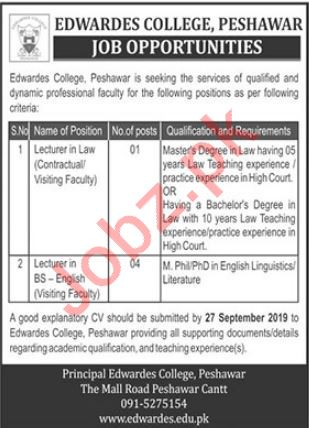 Edwardes College Peshawar Jobs 2019 for Lecturers