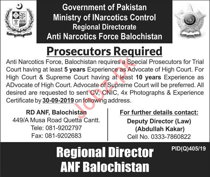 Anti Narcotics Force Jobs For Prosecutors in Quetta Cantt