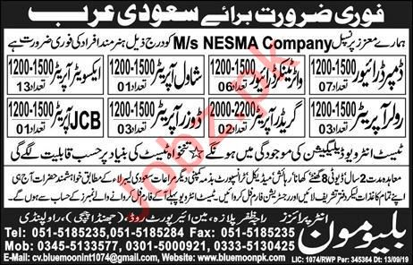 NESMA Company Jobs For Saudi Arabia
