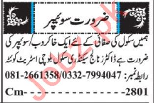 Sweeper & Cleaner Jobs 2019 in Quetta