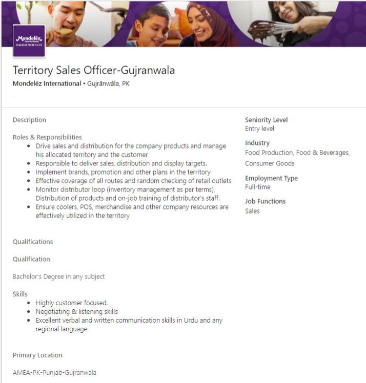 Mondelez International Gujranwala Jobs 2019 Sales Officers