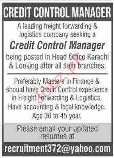 Credit Control Manager Jobs in Karachi