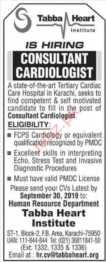 Consultant Cardiologist Jobs in Karachi