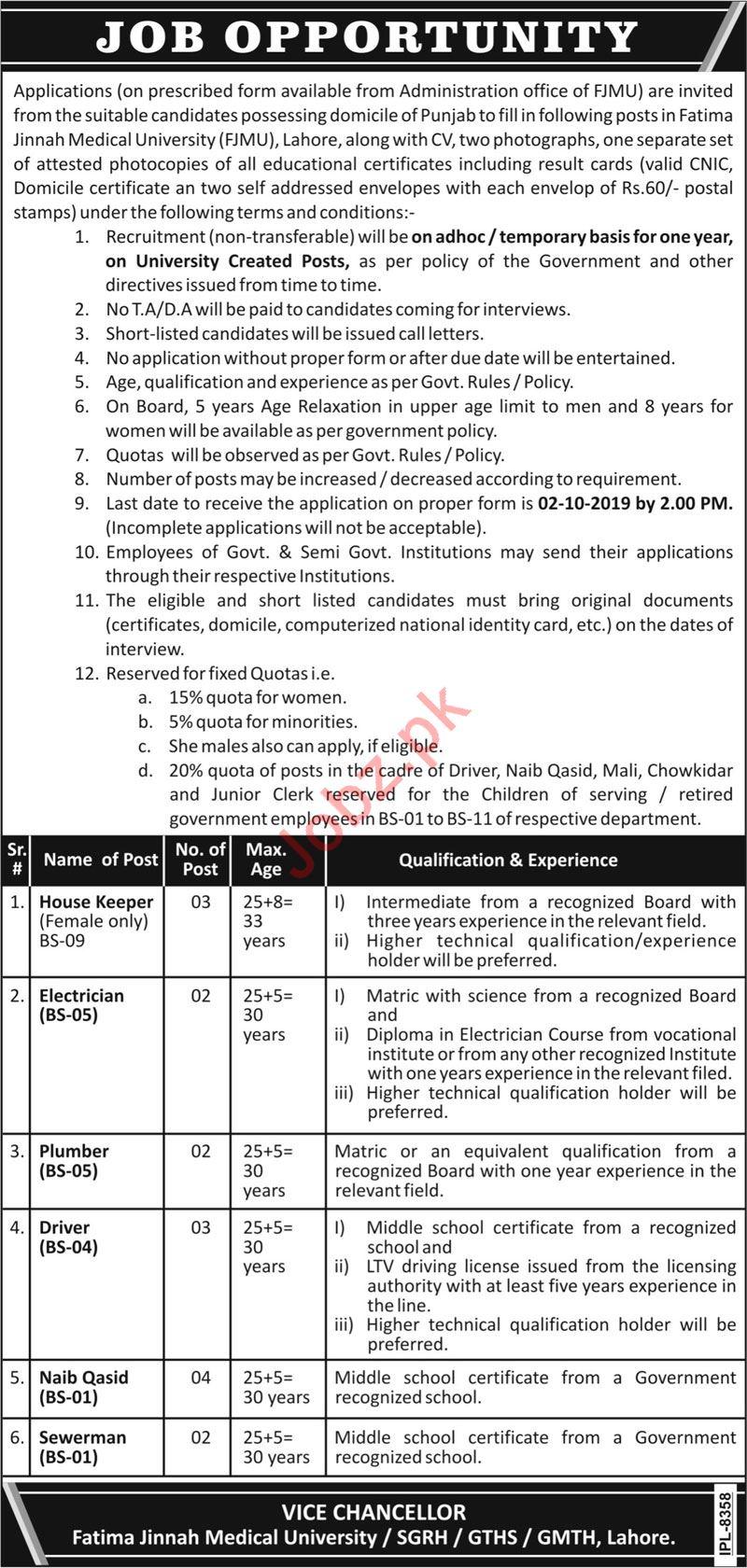 Fatima Jinnah Medical University FJMU Jobs in Lahore