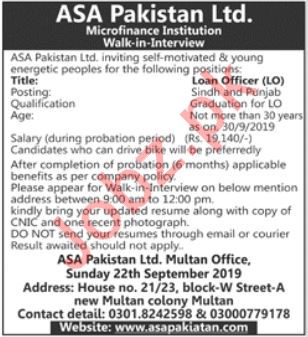 ASA Pakistan Ltd Microfinance Institution Walk In Interview
